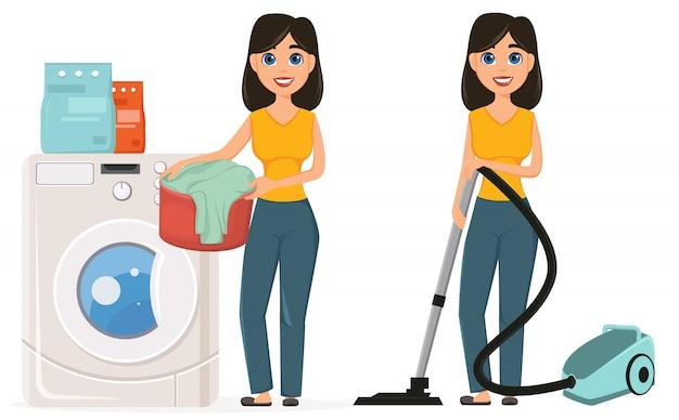 Casalinga che fa lavoro domestico