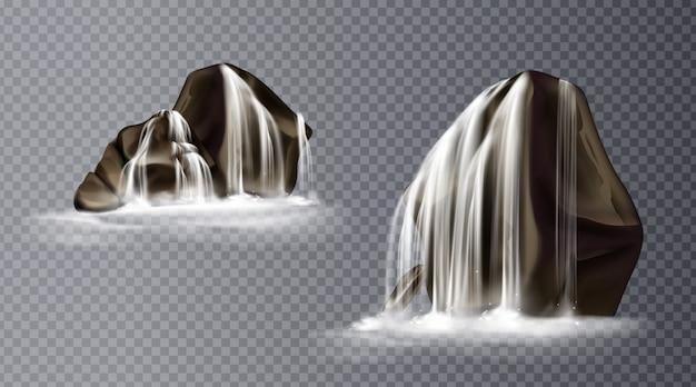 Cascata della cascata sulla roccia, caduta realistica dell'acqua