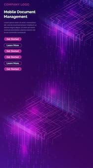 Cascata di big data, flussi di codice binario digitale