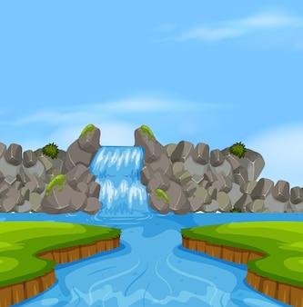 Cascata natura paesaggio scena