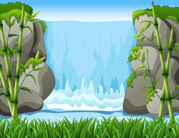 Cascata paesaggio sullo sfondo
