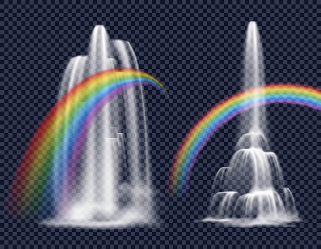 Cascate ed elementi decorativi arcobaleni