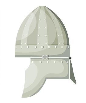 Casco antico del metallo del fumetto di vettore di riserva con i ribattini su fondo bianco. elemento armi da guerriero. stock vettoriale
