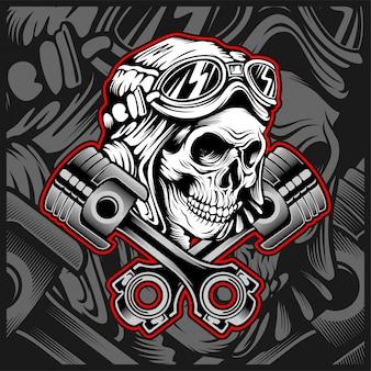 Casco cranio con disegno a mano di pistone