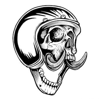 Casco da disegno a tema motociclistico realizzato a mano con teschio bianco e nero.