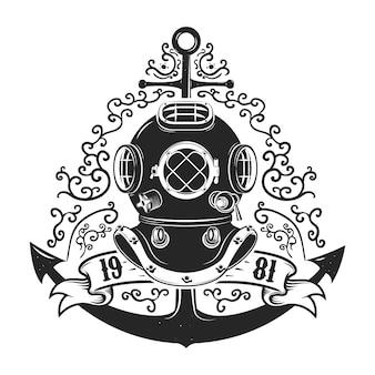 Casco da sub stile vintage con ancora isolato su sfondo bianco. modello di emblema club o scuola di immersioni.