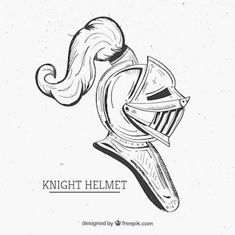 Casco del cavaliere disegnato a mano con stile elegante