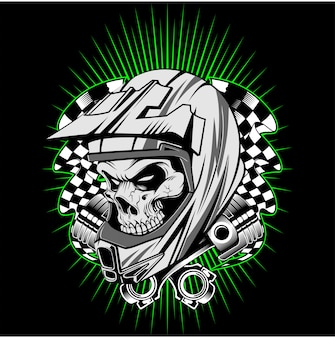 Casco del cranio con il vettore del disegno della mano del pistone