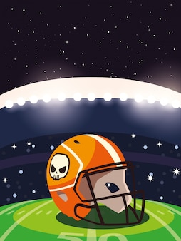 Casco del super bowl davanti all'illustrazione della tribuna