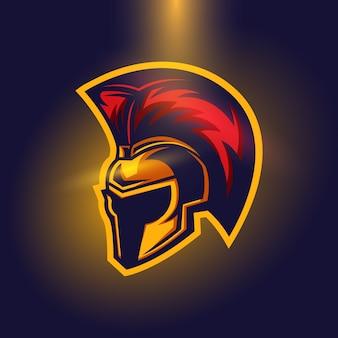 Casco spartan warior logo concept