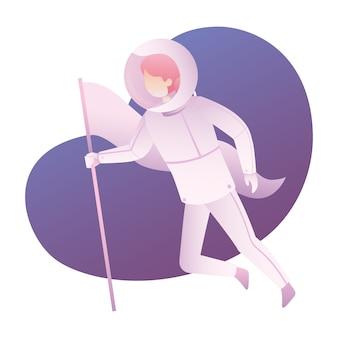 Casco spaziale del vestito di usura dell'illustrazione dell'atronauta di anti gravità e tenuta una bandiera