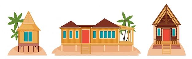 Case bungalow sulle isole tropicali. illustrazione di architettura esotica
