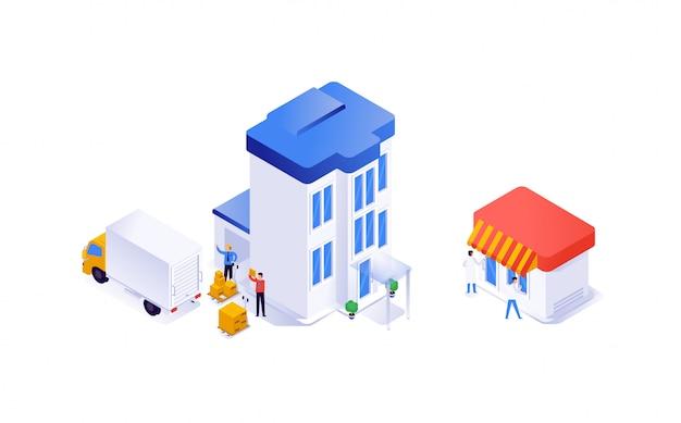 Case e attrezzature in isometrica. dalla produzione al negozio. vettore.