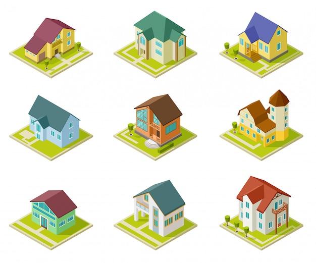 Case isometriche. costruzione di case rurali e cottage. 3d che alloggia insieme urbano esterno