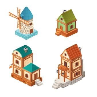 Case isometriche nel retro stile, illustrazione del fumetto uno e casa a due piani, mulino isolato su bianco per progettazione del gioco di computer 3d.
