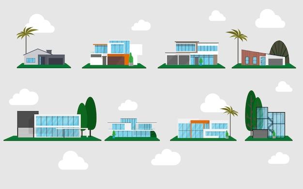 Case moderne in molti stile pronto per l'uso con lo sfondo del cielo con qualche nuvola