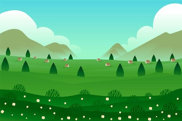 Case panoramiche e alberi paesaggio primaverile