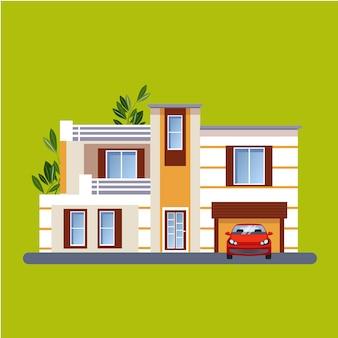 Case residenziali piatte colorate