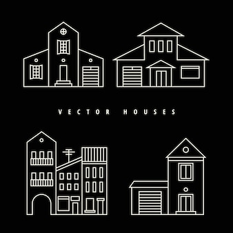 Case set contorno bianco disegnato su uno sfondo nero.