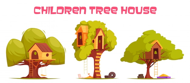 Case sull'albero fra l'illustrazione verde del fogliame