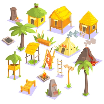 Case viventi tribali della giungla e altri oggetti