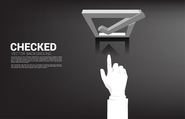Casella di controllo di tocco 3d della mano dell'uomo d'affari della siluetta. concetto per lo sfondo del tema di voto elettorale.