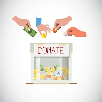 Casella di donazione con la mano