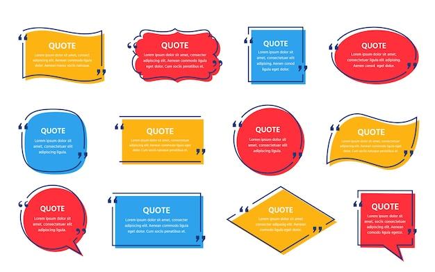 Casella di testo citazione. . cornice citazioni. insieme di commenti e messaggi informativi nelle caselle di testo. bolle di discorso su sfondo di colore. illustrazione colorata. stile minimalista semplice. design giallo, rosso, blu