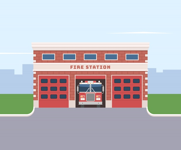 Caserma dei pompieri con un camion dei pompieri