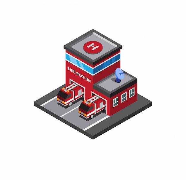 Caserma dei pompieri, costruzione di salvataggio del pompiere con il camion dei vigili del fuoco con l'illustrazione isometrica del fondo bianco editabile