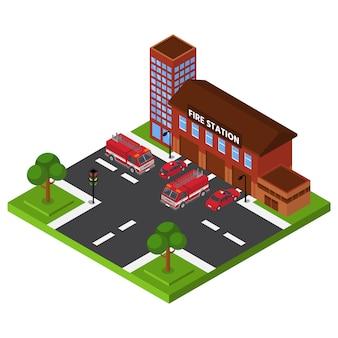Caserma dei pompieri isometrica, costruzione del dipartimento di emergenza, servizio di salvataggio rosso del camion, progettazione, illustrazione di stile del fumetto.