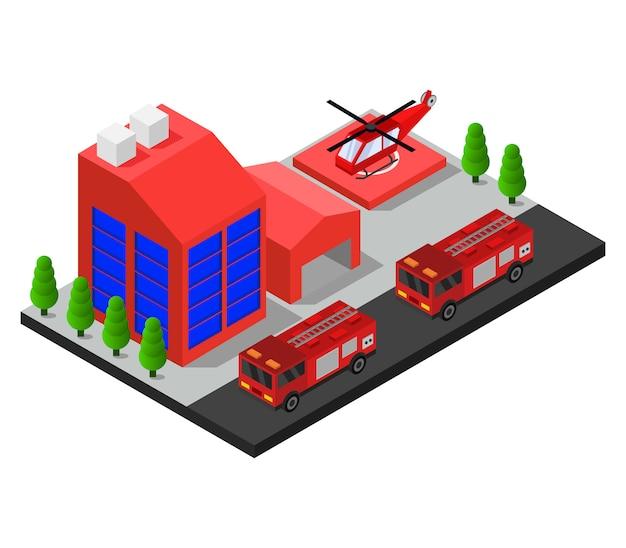 Caserma dei pompieri isometrica