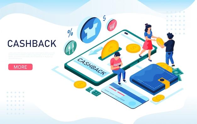 Cashback, concetto isometrico di servizio online. smartphone, denaro contante, carta di credito. illustrazione isometrica