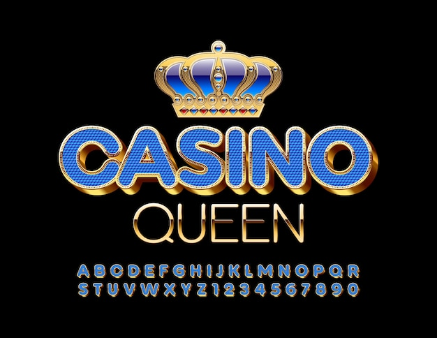 Casino queen con caratteri blu e oro. lettere e numeri dell'alfabeto d'élite di lusso