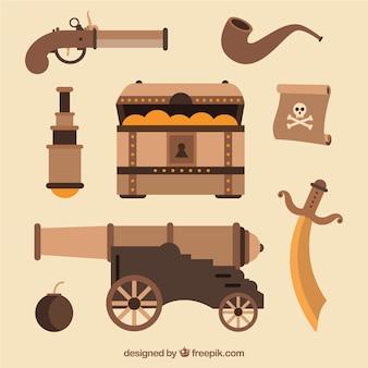 Cassa del tesoro con elementi pirata in design piatto