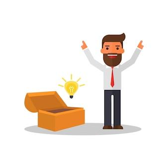Cassa di tesoro d'apertura dell'uomo d'affari e scopra la lampadina di idea