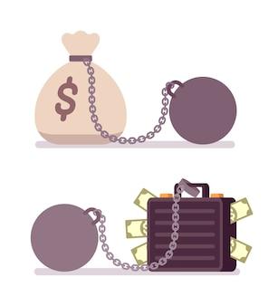 Cassa e sacco di soldi su una catena di metallo con peso