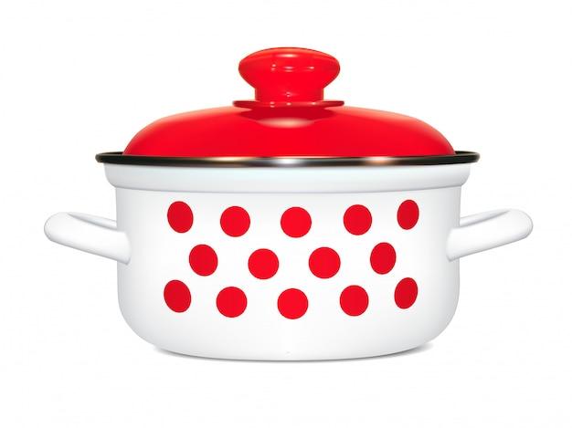 Casseruola bianca con un motivo di piselli rossi. cucinando