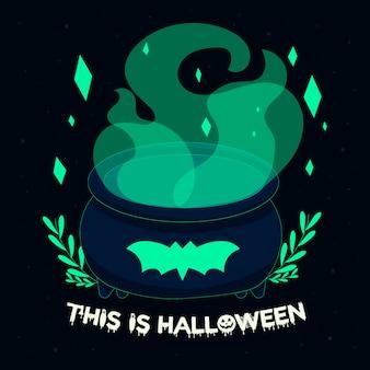 Casseruola con fumo, questa è l'illustrazione di halloween