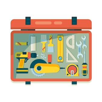 Cassetta degli strumenti dello strumento. riparare l'attrezzatura per gli elementi del carpentiere dei lavoratori con gli strumenti di costruzione della roulette del martello della sega