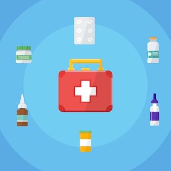 Cassetta del kit di pronto soccorso. design piatto. illustrazione vettoriale