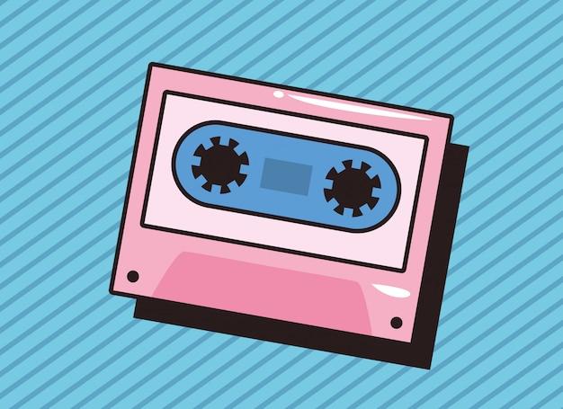 Cassetta di musica retrò sfondo pop art