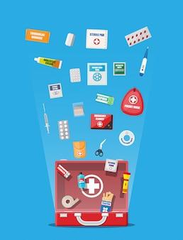 Cassetta di pronto soccorso con attrezzatura medica