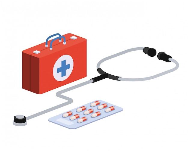 Cassetta di pronto soccorso su bianco