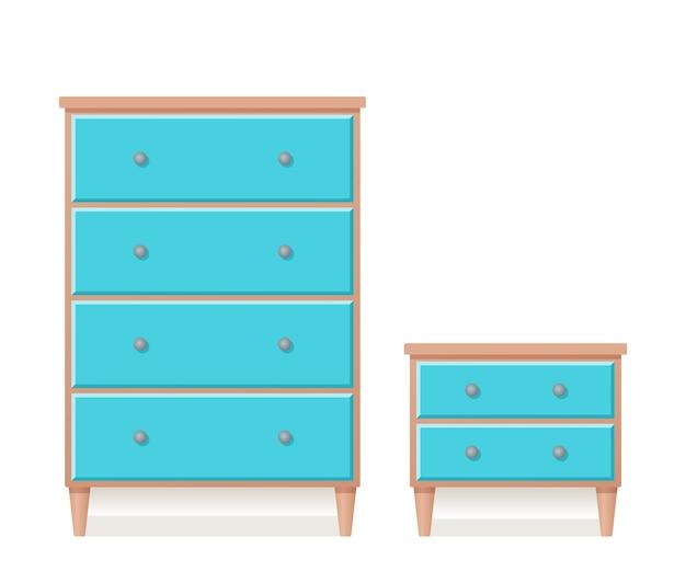 Cassettiera e cassettiera dal design piatto. illustrazione.