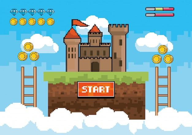 Castello con scale e monete con vita di barre di diamanti