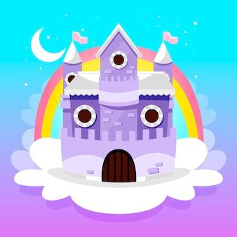 Castello da favola con arcobaleno