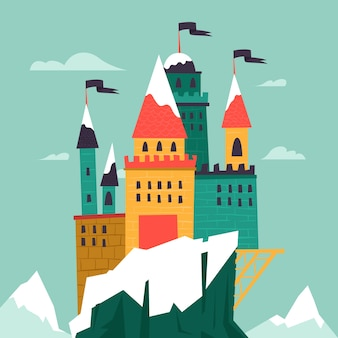Castello da favola con neve