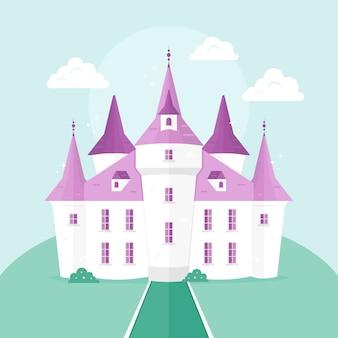 Castello da favola in stile piatto