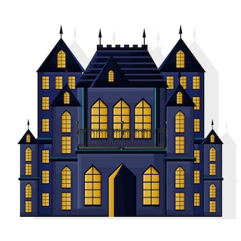 Castello di colore scuro di halloween con luci gialle